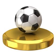 Free Soccer Ball On Gold Podium Royalty Free Stock Photo - 16605475