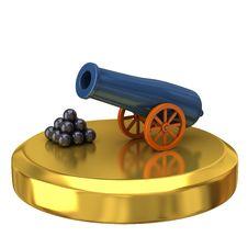 Free Cannon On Gold Podium Royalty Free Stock Photos - 16605508