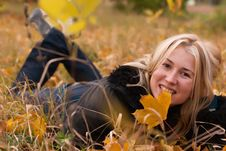 Free Beautiful Young Woman In Autumn Leaves Stock Photo - 16605820