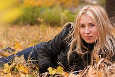 Free Beautiful Young Woman In Autumn Leaves Stock Photos - 16605833
