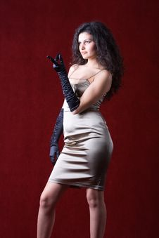 Girl Wearing Evening Dress And Gloves Stock Photo