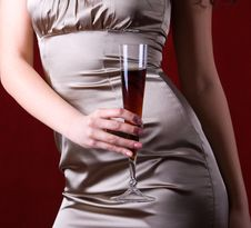 Close Up Of Female Holding A Glass Of Wine Royalty Free Stock Images