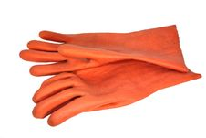 Free The Red Rubber Gloves On The White Surface Stock Photos - 16606833