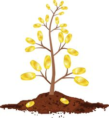 Free Tree With Golden Coins Royalty Free Stock Photos - 16608698