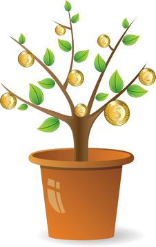 Free Plant With Golden Coins Stock Photo - 16608700