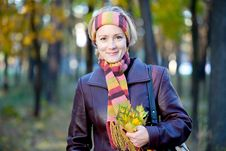Free Young Woman In Autumn Park Stock Images - 16608864