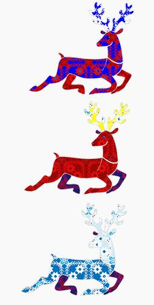 Free Christmas Running Deer Silhouette Royalty Free Stock Images - 16609969