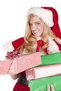 Free Mrs Santa Handing Present Stock Photos - 16613143