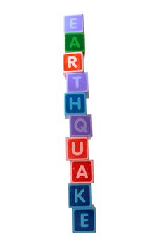 Earthquake In Toy Letters Royalty Free Stock Photos