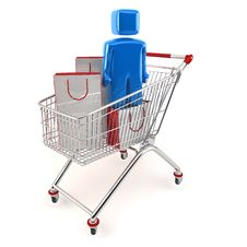 3D Shopping Cart With Customer Royalty Free Stock Images