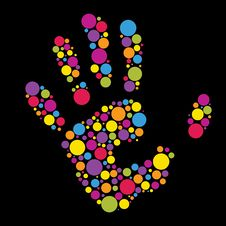 Hand Made From Color Circles Stock Photos