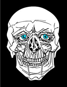 Skull With Blue Eyes Royalty Free Stock Images