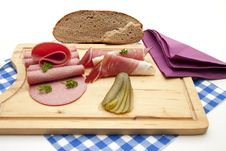 Free Ham And Gherkin With Salamis Stock Images - 16612114