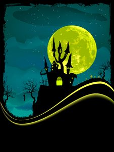 Free Scary Halloween Castle With Copy Space. Royalty Free Stock Images - 16612659