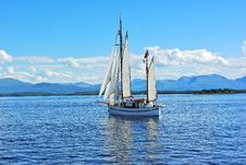 Twin Mast Sailboat On The Sea Stock Photo