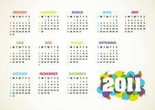 Vector Calendar For 2011 Year Stock Image