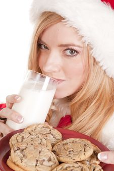 Free Mrs Santa Close Drinking Milk Stock Photography - 16613012
