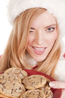 Mrs Santa Cookies Wink Royalty Free Stock Photography