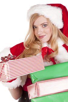 Free Mrs Santa Giving Present Stock Photo - 16613130