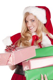 Free Mrs Santa Handing Present Stock Photos - 16613143