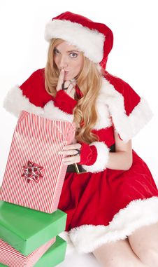 Mrs Santa Open Gift Shhh Stock Photography
