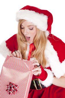 Free Mrs Santa Open Gift Surprised Stock Photo - 16613240