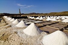 Salt Piles On A Saline Exploration Stock Photos