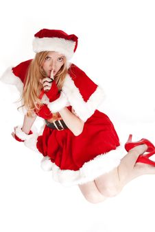 Mrs Santa Shhh Sitting Royalty Free Stock Photos