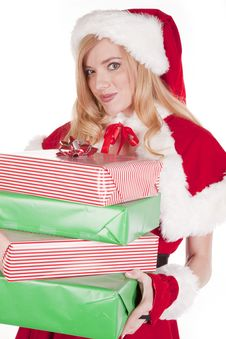 Mrs Santa Smiling With Presents Royalty Free Stock Image