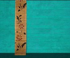 Free Flower Bamboo Banner On Aquamarine Wood Stock Image - 16616451