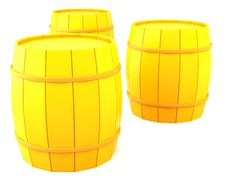 Free Three Yellow Barrels Stock Image - 16617341