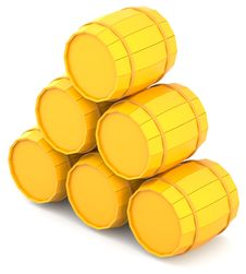 Free Yellow Barrels Royalty Free Stock Photo - 16617355