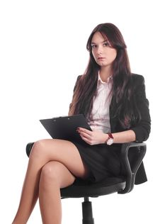 Free Businesswoman With Advisor On Office Chair Stock Photography - 16617382