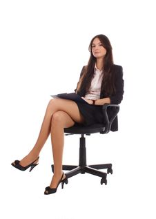 Businesswoman With Advisor On Office Chair Stock Photos