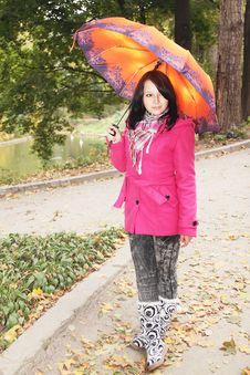 Girl With The Umbrella Stock Photos