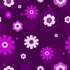 Free Seamless Violet Flowers Pattern. Royalty Free Stock Photography - 16618457