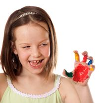 Free Eight Year Old Girl With Colorful Hand Stock Images - 16618714