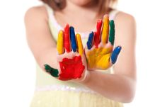 Free Little Girl With Colorful Hand Stock Image - 16618731