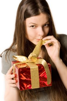 Free Woman, Holding Present Royalty Free Stock Image - 16620196