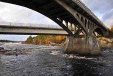 Bridge Over Rapids Stock Photo