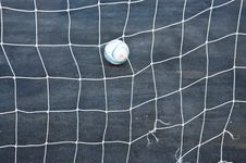 Goal Net And Football Royalty Free Stock Photo