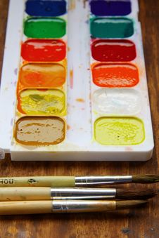 Box Watercolor Paints To Draw Royalty Free Stock Image