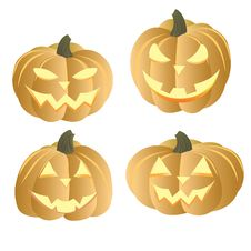 Free Four Pumpkins Royalty Free Stock Photo - 16624725