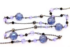 Free Costume Jewellery A Chain With Blue Beads Royalty Free Stock Image - 16624846