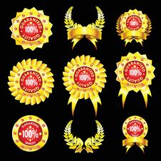 Free Set Of Golden Badges Royalty Free Stock Photo - 16624915