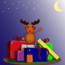 Free Reindeer Rudolph With Presents Stock Image - 16625141