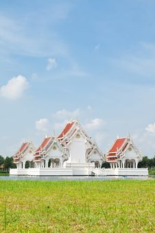 Thai Style Castle In The Middle Of Pond Stock Photography