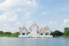 Thai Style Castle In The Middle Of Pond Royalty Free Stock Photo
