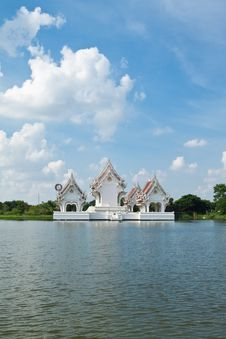 Thai Style Castle In The Middle Of Pond Stock Photos