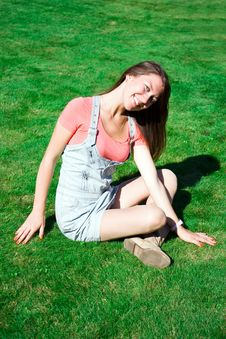 Free Beautiful Healthy Young Woman Sitting On Grass Stock Photos - 16626253